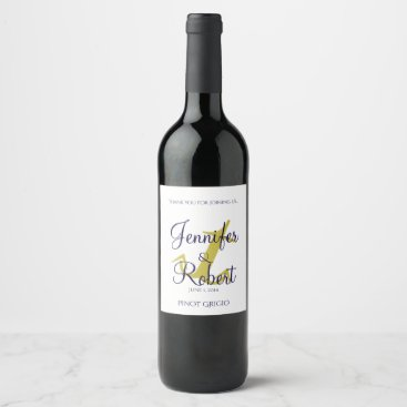 Beach Themed Gold and Navy Nautical Anchor Wedding Wine Label
