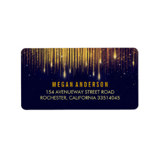 Gold and Navy String Lights Glitter Wedding Label