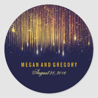 Gold and Navy String Lights Wedding Classic Round Sticker