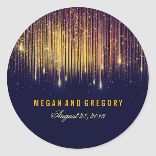 Zazzle String Lights : Gold and Navy String Lights Wedding Classic Round Sticker Zazzle