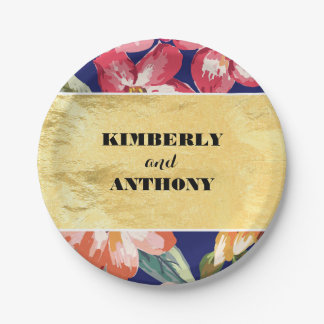 gold and navy tropical flowers beach wedding paper plate