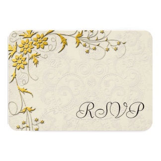 Gold and Off White Damask Wedding RSVP Reply Cards