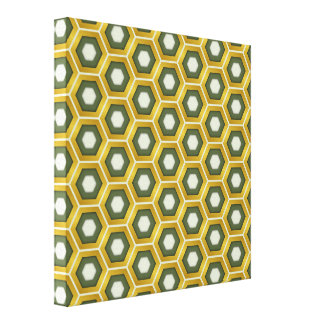 Gold and Olive Green Hex Tiled Canvas