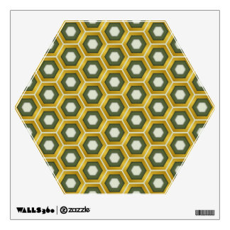 Gold and Olive Green Hex Tiled Wall Decal