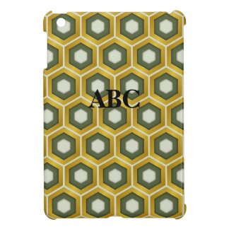 Gold and Olive Green Tiled Hex Mini iPad Cover