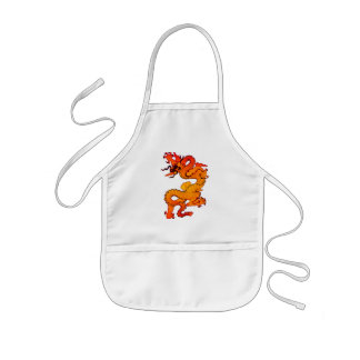 Gold and Orange Dragon for Chinese New Year Apron