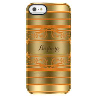 Gold And Orange Stripes With Orange Floral Lace Clear iPhone SE/5/5s Case