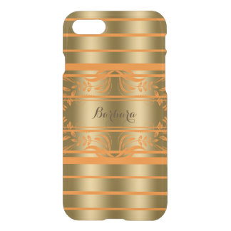Gold And Orange Stripes With Orange Floral Lace iPhone 8/7 Case
