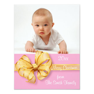 "Gold and Pale Pink Photo Christmas Card 4.25"" X 5.5"" Invitation Card"