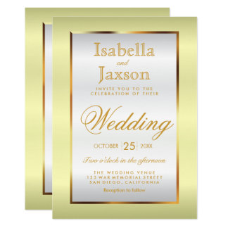 Gold and Pale Yellow Satin Invitation