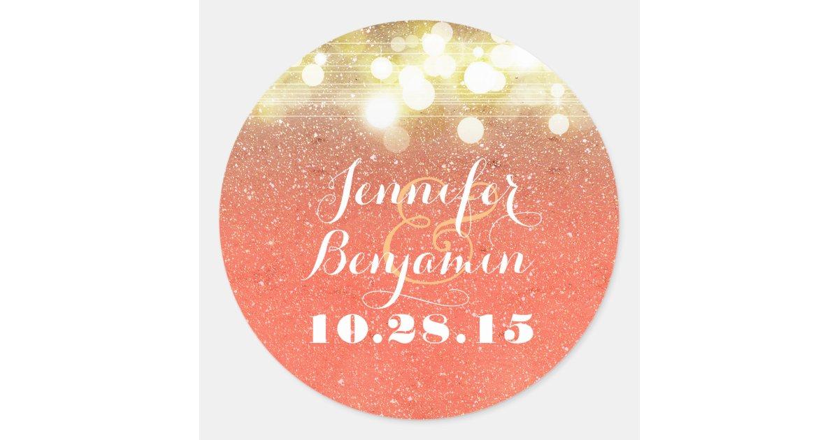 Gold and Peach Glitter String Lights Wedding Classic Round Sticker Zazzle