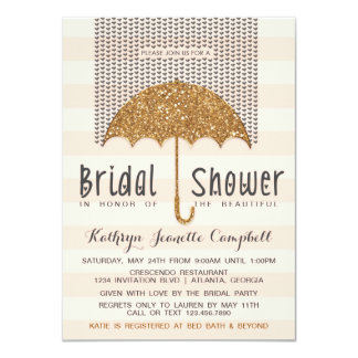 Gold and Peach Umbrella & Hearts Bridal Shower Card