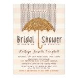 Gold and Peach Umbrella & Hearts Bridal Shower Custom Invites