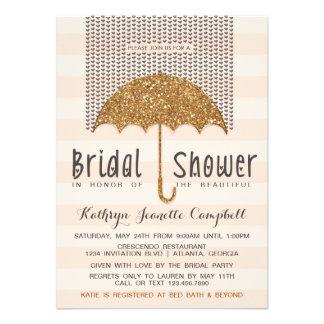 Gold and Peach Umbrella Hearts Bridal Shower Custom Invites