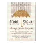 Gold and Peach Umbrella & Hearts Bridal Shower 4.5x6.25 Paper Invitation Card