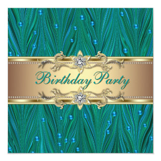 Gold and Peacock Teal Blue Birthday Party Card