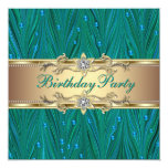 Gold and Peacock Teal Blue Birthday Party Announcement