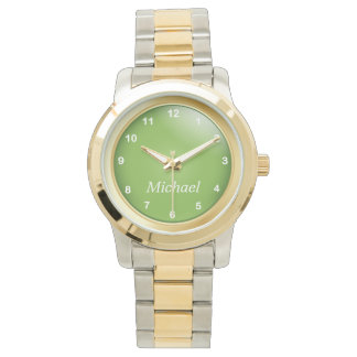 Gold and Peridot Green with White Numbers Wrist Watch