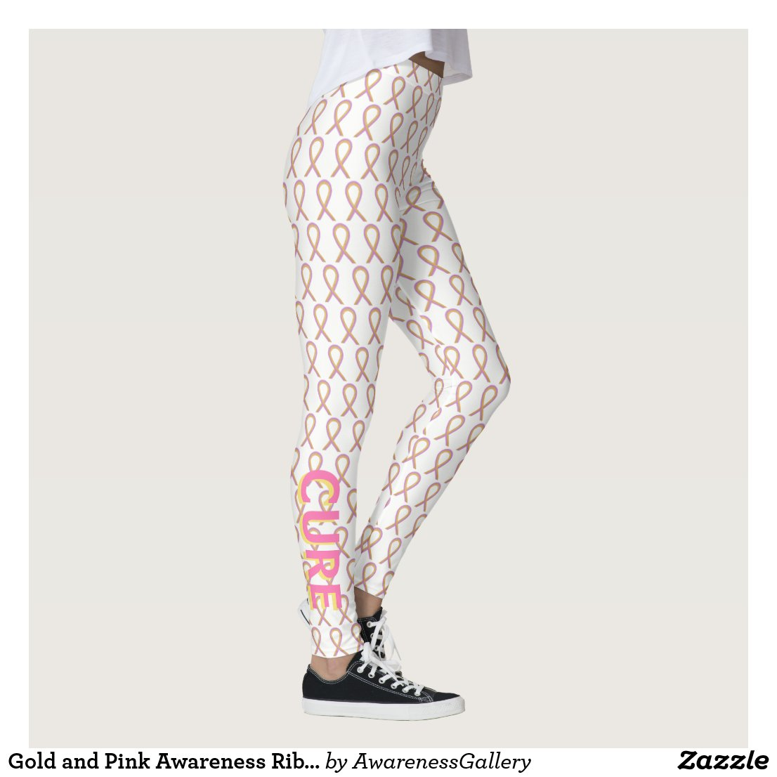 Gold and Pink Awareness Ribbon Custom Leggings