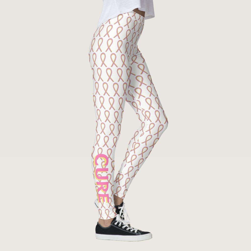 Gold and Pink Awareness Ribbon Custom Leggings