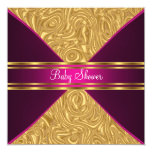"""Gold and Pink Baby Shower Invitation 5.25"""" Square Invitation Card"""