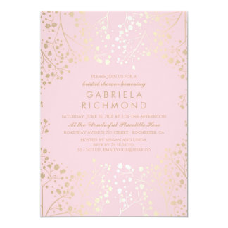 Gold and Pink Baby's Breath Bridal Shower Card