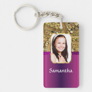 Gold and pink bling keychain