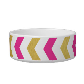 Gold and Pink Chevron Small Dog Bowl