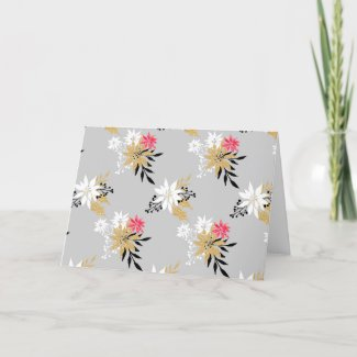 Gold And Pink Christmas Card