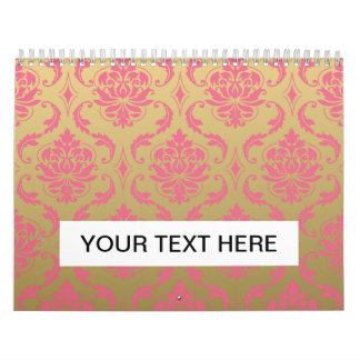 Gold and Pink Classic Damask Calendar