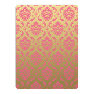 Gold and Pink Classic Damask Card