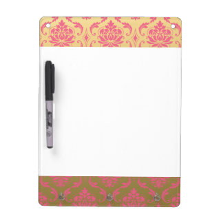 Gold and Pink Classic Damask Dry Erase Board