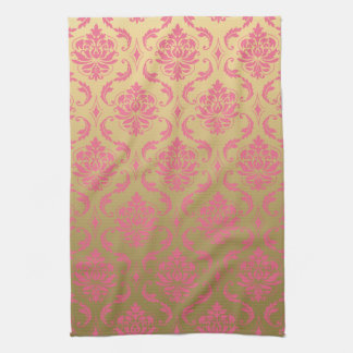 Gold and Pink Classic Damask Kitchen Towels