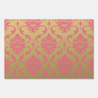 Gold and Pink Classic Damask Lawn Sign