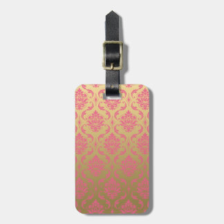 Gold and Pink Classic Damask Luggage Tag