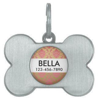 Gold and Pink Classic Damask Pet ID Tag