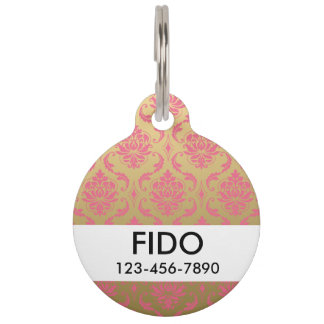 Gold and Pink Classic Damask Pet Tag
