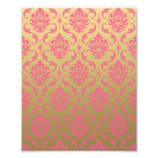 Gold and Pink Classic Damask Photo Print