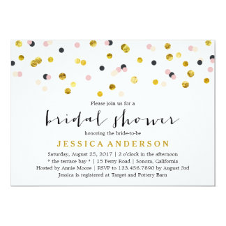 Gold and Pink Confetti Bridal Shower Card