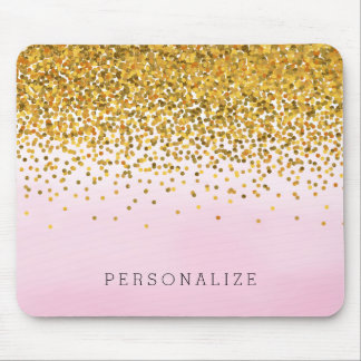 Gold and Pink Confetti Watercolor Mouse Pad