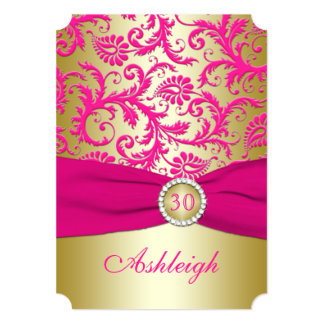 Gold and Pink Damask 30th Birthday Invitation