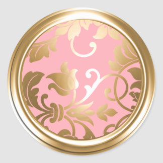 Gold and Pink Damask Envelope Seal Classic Round Sticker