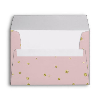 Gold and Pink Faux Glitter Confetti Dots Envelope