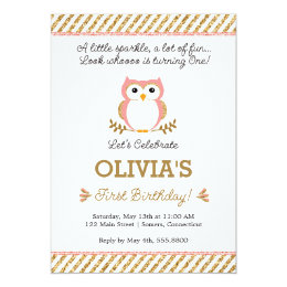 Owl birthday invitations announcements zazzle gold and pink first birthday owl invitation filmwisefo Image collections