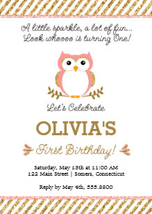 Owl birthday invitations zazzle gold and pink first birthday owl invitation filmwisefo