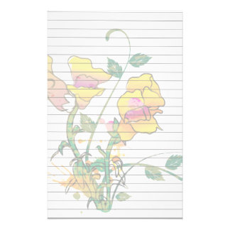 Gold and Pink Floral Custom Stationery