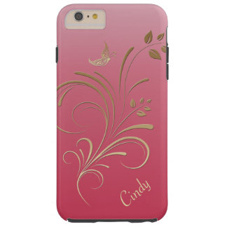 Gold and Pink Floral Swirls Butterfly Monogram Tough iPhone 6 Plus Case