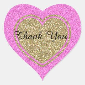 Gold and Pink Glitter Look Heart Wedding Sticker