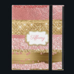 """Gold and Pink Glitz iPad Case<br><div class=""""desc"""">Glamorous iPad case with graphics of a coral pink and gold abstract background that looks like foils and glitter.  A gold and white text area,  on the front,  has custom pink text ready to personalize.</div>"""