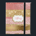 "Gold and Pink Glitz iPad Case<br><div class=""desc"">Glamorous iPad case with graphics of a coral pink and gold abstract background that looks like foils and glitter.  A gold and white text area,  on the front,  has custom pink text ready to personalize.</div>"